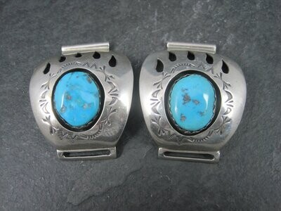 Vintage Sterling Navajo Turquoise Bear Paw Watch Band Tips Teddy Goodluck