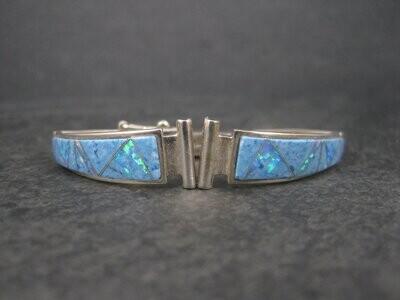 Vintage Southwestern Sterling Denim Lapis Opal Inlay Watch Band