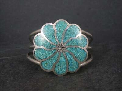 Vintage Sterling Turquoise Chip Inlay Flower Cuff Bracelet 6 Inches