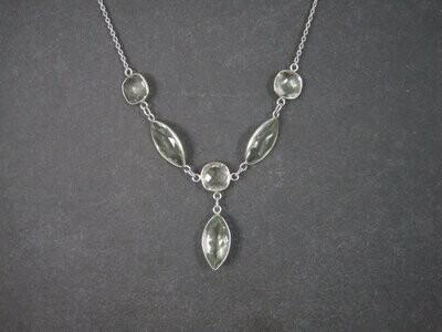 Vintage Sterling Green Amethyst Y Necklace