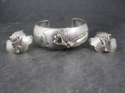Vintage Carol Felley Orchid Cuff Bracelet Earrings Jewelry Set