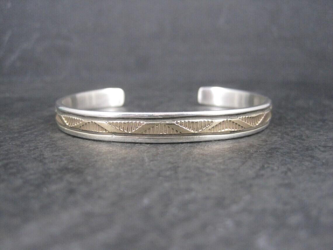 Navajo Sterling 14K Cuff Bracelet 6 Inches Bruce Morgan