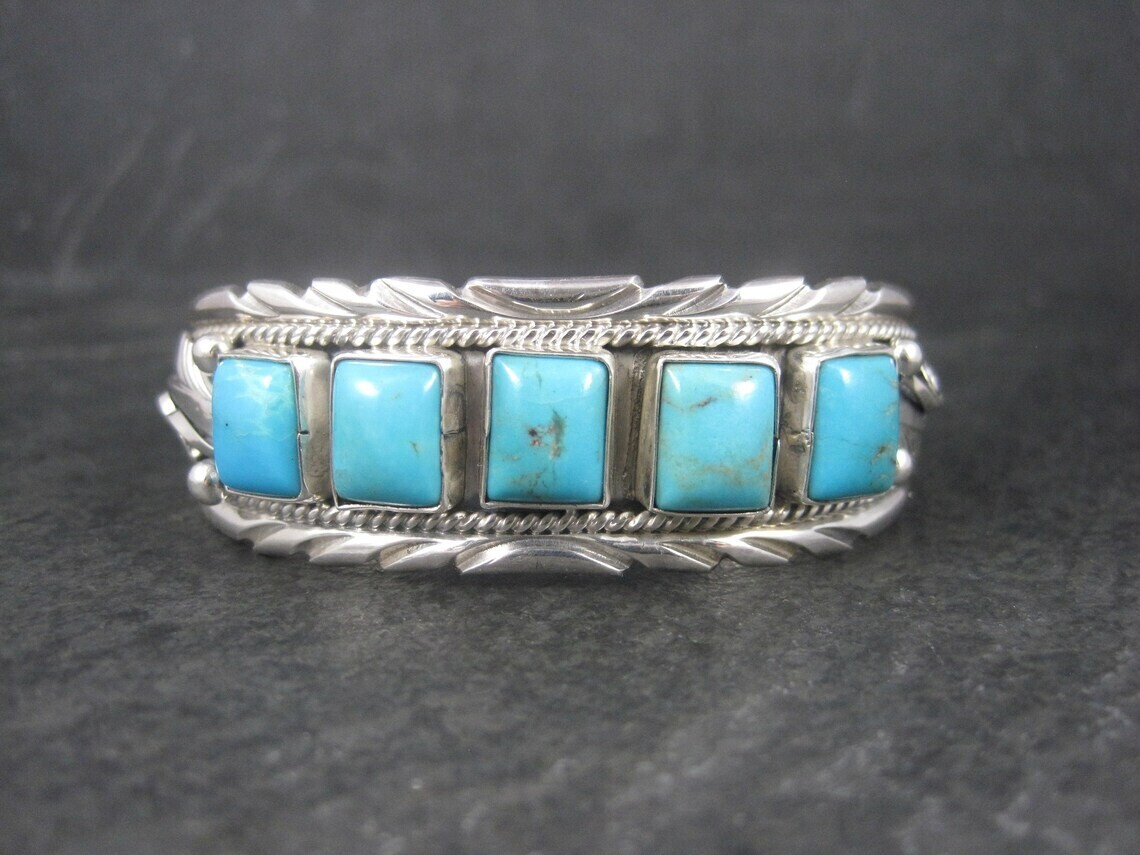 Estate Southwestern Sterling Turquoise Cuff Bracelet 6 Inches