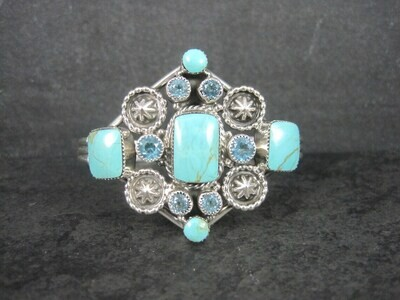 Southwestern Estate Sterling Turquoise Topaz Cuff Bracelet 6.25 Inches