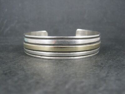 Vintage Navajo Sterling 14K Cuff Bracelet 6.5 Inches Aron Johnson