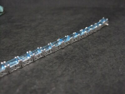 Estate Sterling Blue Topaz Tennis Bracelet 7.5 Inches Chuck Clemency