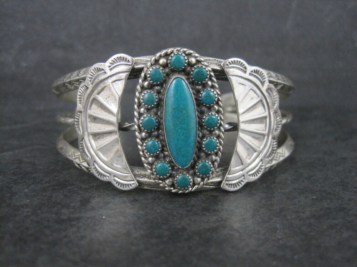 Southwestern Sterling Cluster Cuff Bracelet 6.25 Inches