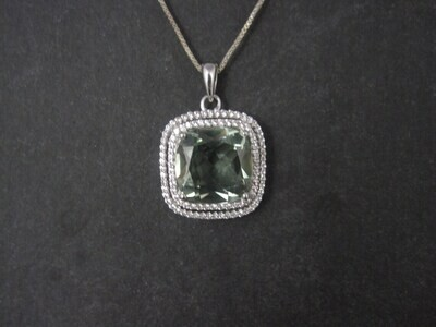Estate Sterling Green Amethyst Diamond Pendant Necklace