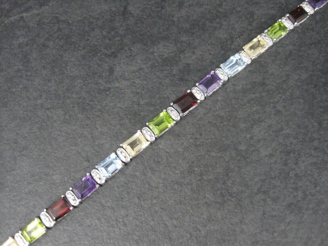Estate Sterling Gemstone Bracelet 7.5 Inches
