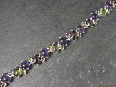 Estate Sterling Gemstone Cabochon Bracelet 7.75 Inches