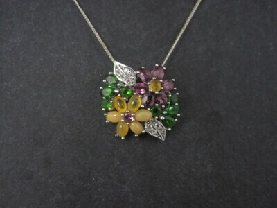 Estate Sterling Gemstone Flower Bouquet Pendant Necklace