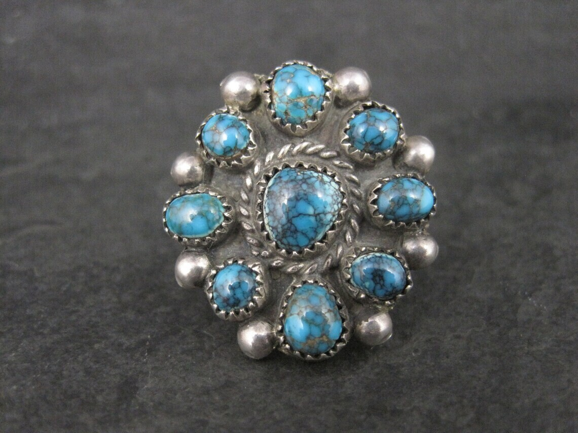 Southwestern Sterling Turquoise Cluster Ring Size 5