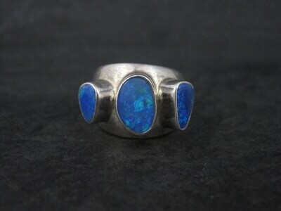 Modernist Sterling Opal Ring Size 5.5
