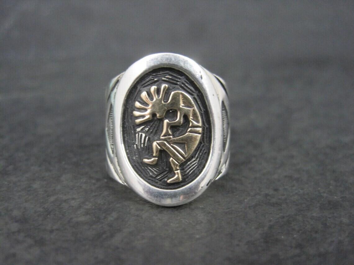 Vintage Sterling 14K Kokopelli Ring Size 5.75
