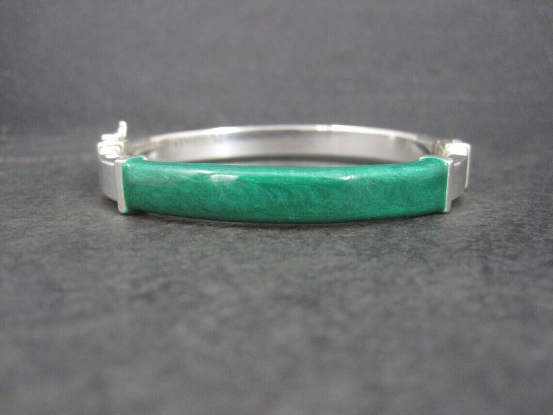 Vintage Italian Sterling Green Enamel Bangle Bracelet