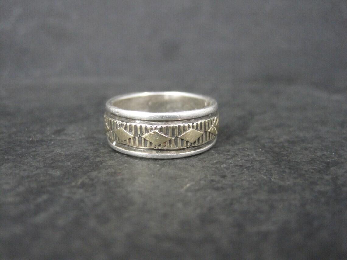 Navajo Sterling 14K Band Ring Size 6.5 Bruce Morgan