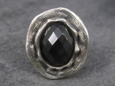 Vintage Gothic Chunky Onyx Sterling Ring Size 6