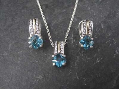 Sterling 14K London Blue Topaz Pendant French Back Earrings Jewelry Set