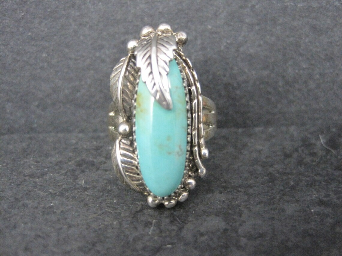 Southwestern Sterling Turquoise Ring Size 9 Carol Felley