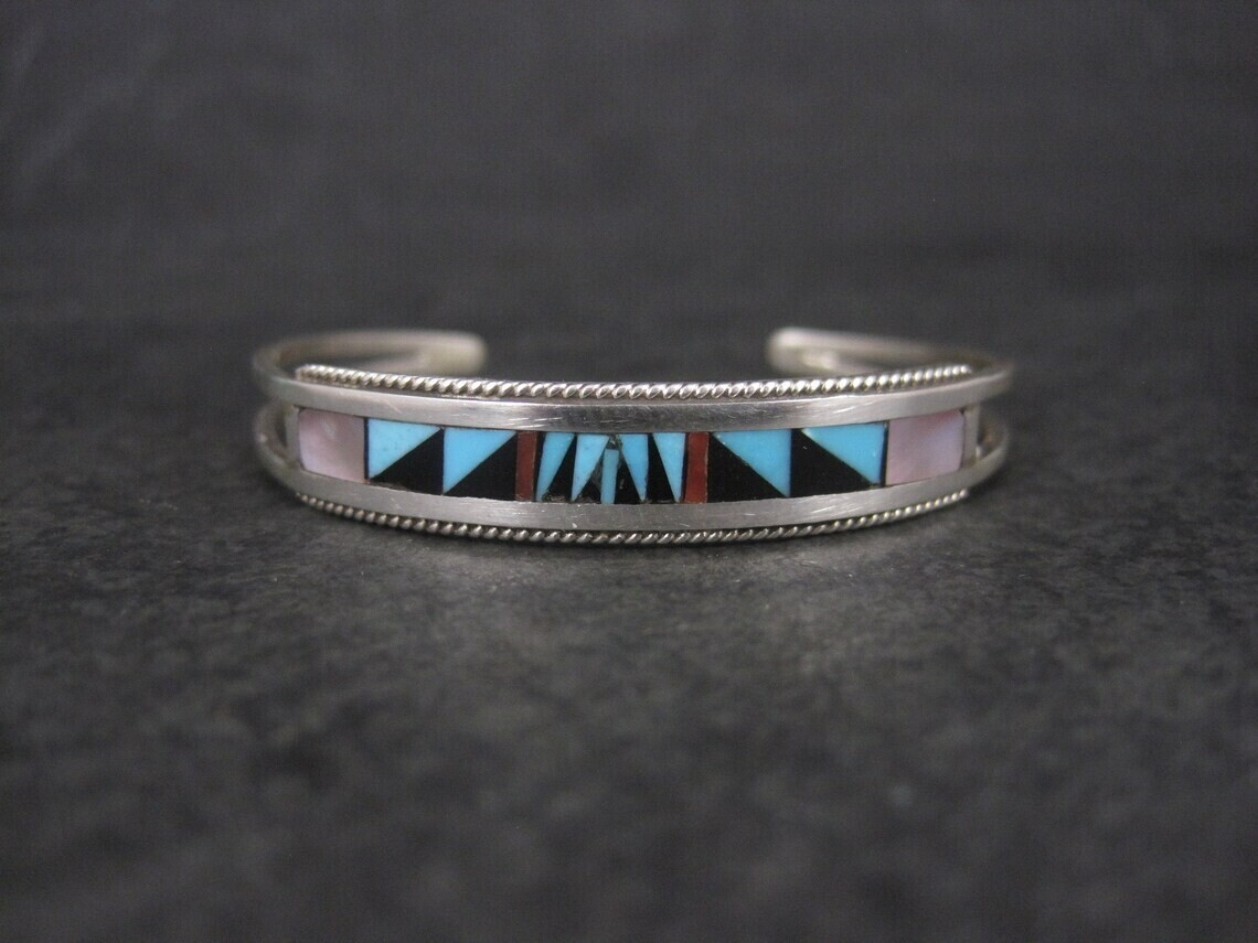 Zuni Sterling Baby Toddler Inlay Cuff Bracelet 4.5 Inches