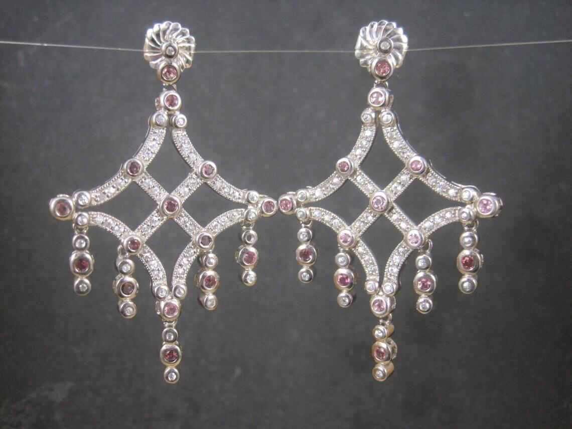 Large Estate Sterling Pink White Topaz Chandelier Earrings