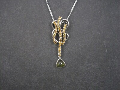 Large Unusual Sterling Citrine Peridot Pendant Necklace