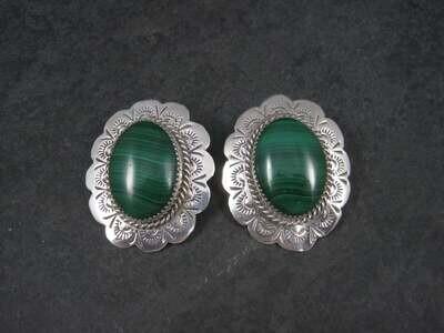 Large Vintage Navajo Sterling Malachite Earrings