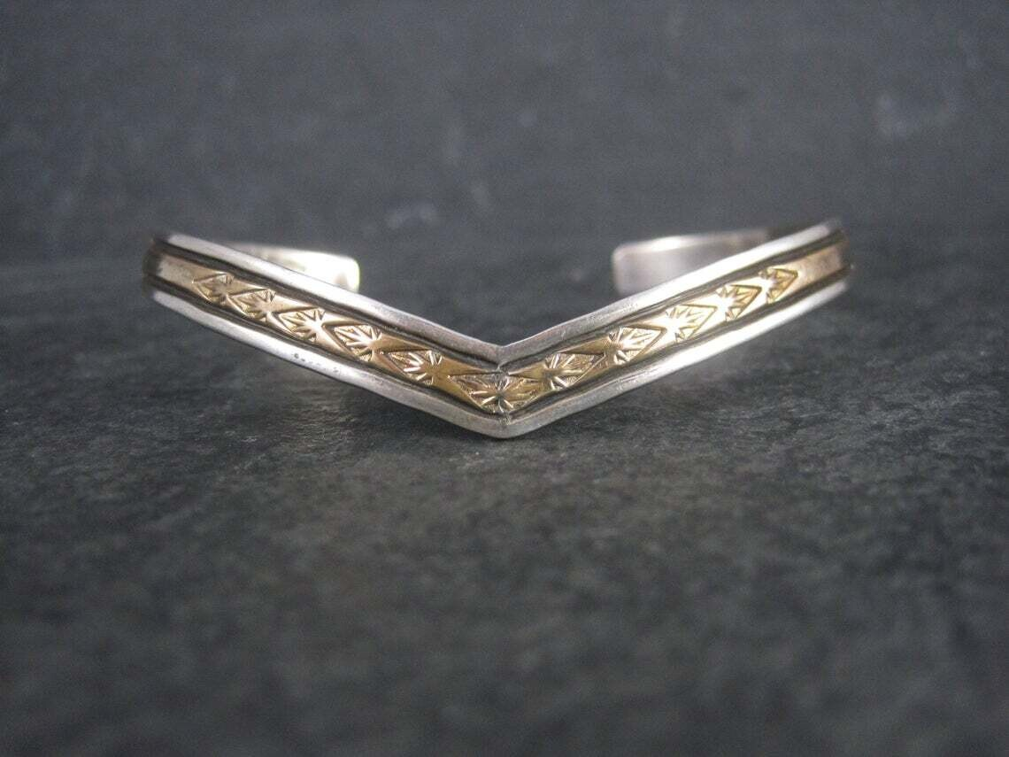 Estate Southwestern Sterling 12K GF Sweater Cuff Bracelet 6.5 Inches