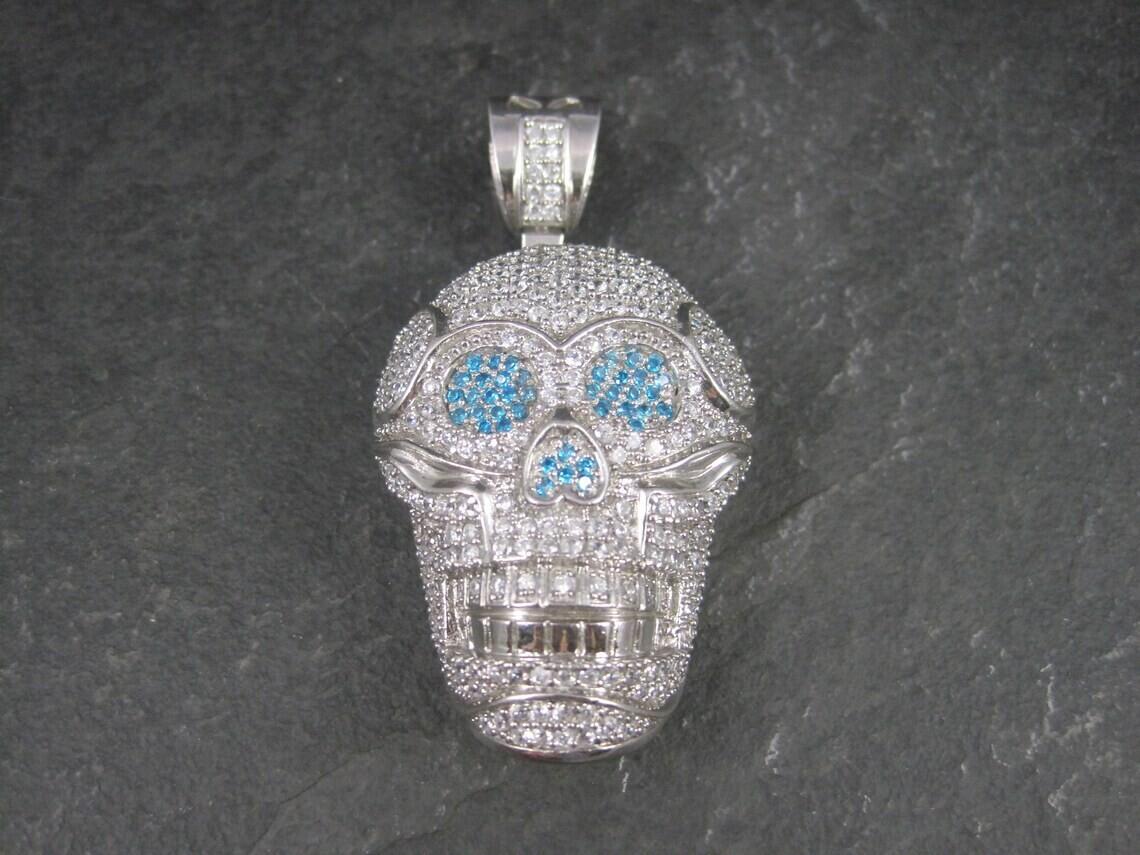 Huge Dimensional Sterling Skull Pendant