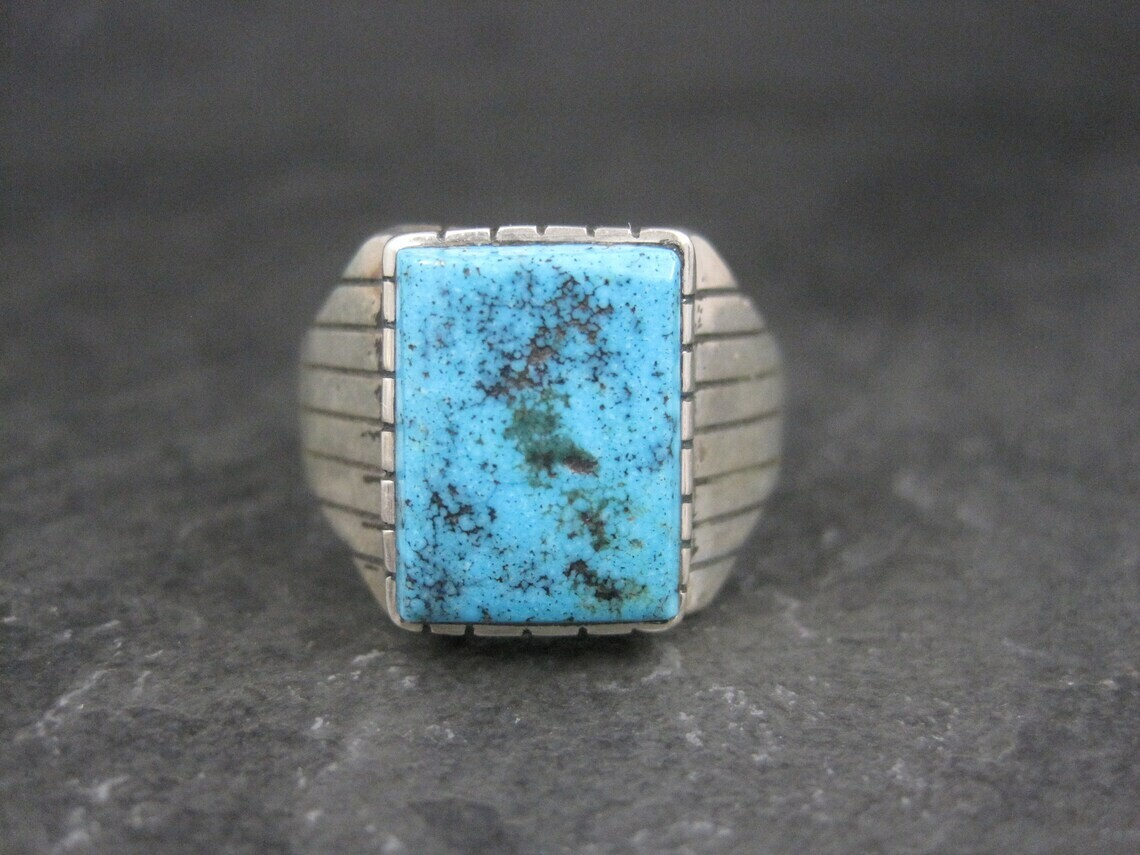 Estate Southwestern Sterling Turquoise Ring Size 13