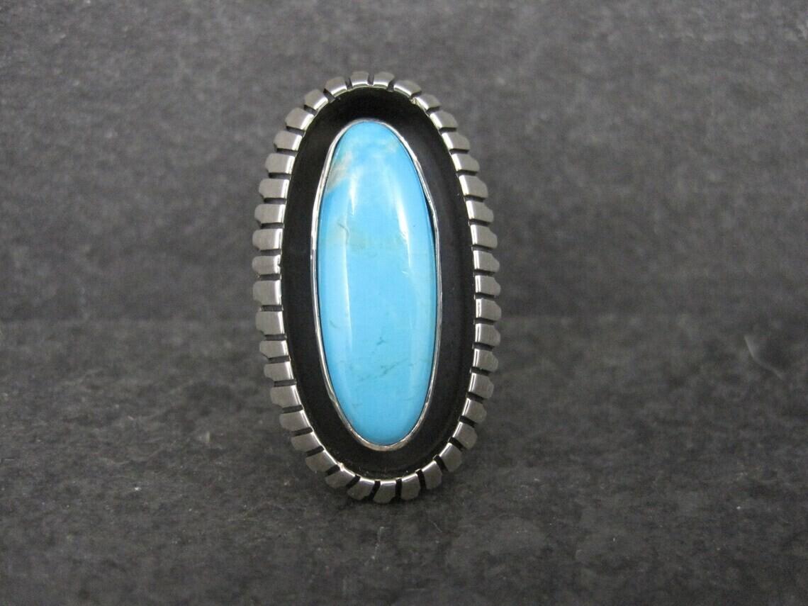 Large Turquoise Shadowbox Ring Size 8