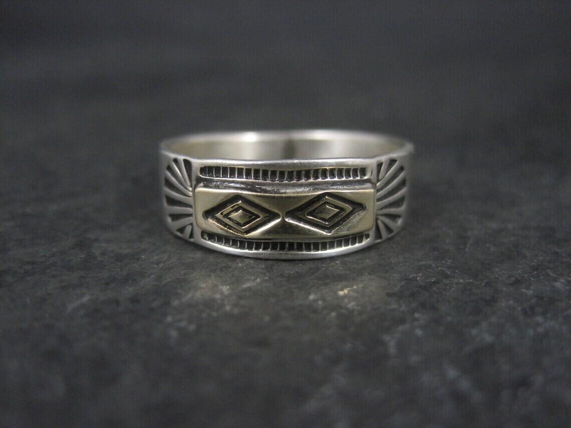 Estate Southwestern Sterling 14K Band Ring Size 10.5