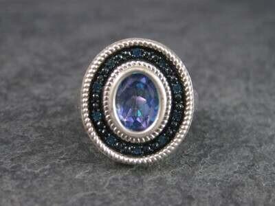 Mystic Topaz Blue Diamond Ring Sterling Size 6