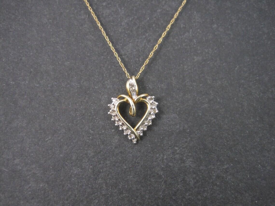 Small 10K Diamond Heart Pendant Necklace