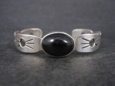 Estate Mexican Sterling Onyx Cuff Bracelet 7 Inches