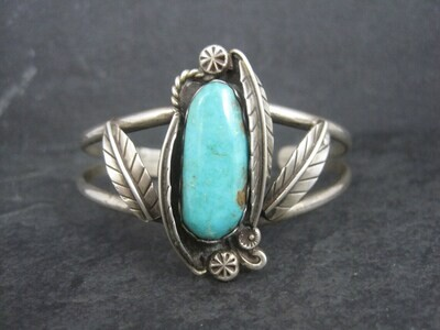 "Small Southwestern Sterling Feather Cuff Bracelet 5.75"""