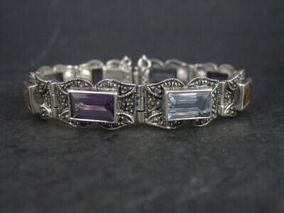 Estate Sterling Marcasite Gemstone Bracelet 6.5 Inches