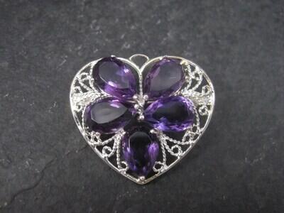 Filigree Sterling Silver Amethyst Heart Brooch