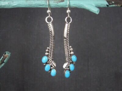Estate Southwestern Sterling Turquoise Earrings