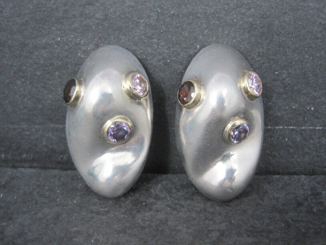 Large Chunky Sterling Gemstone Clip On Earrings Mexican Silver