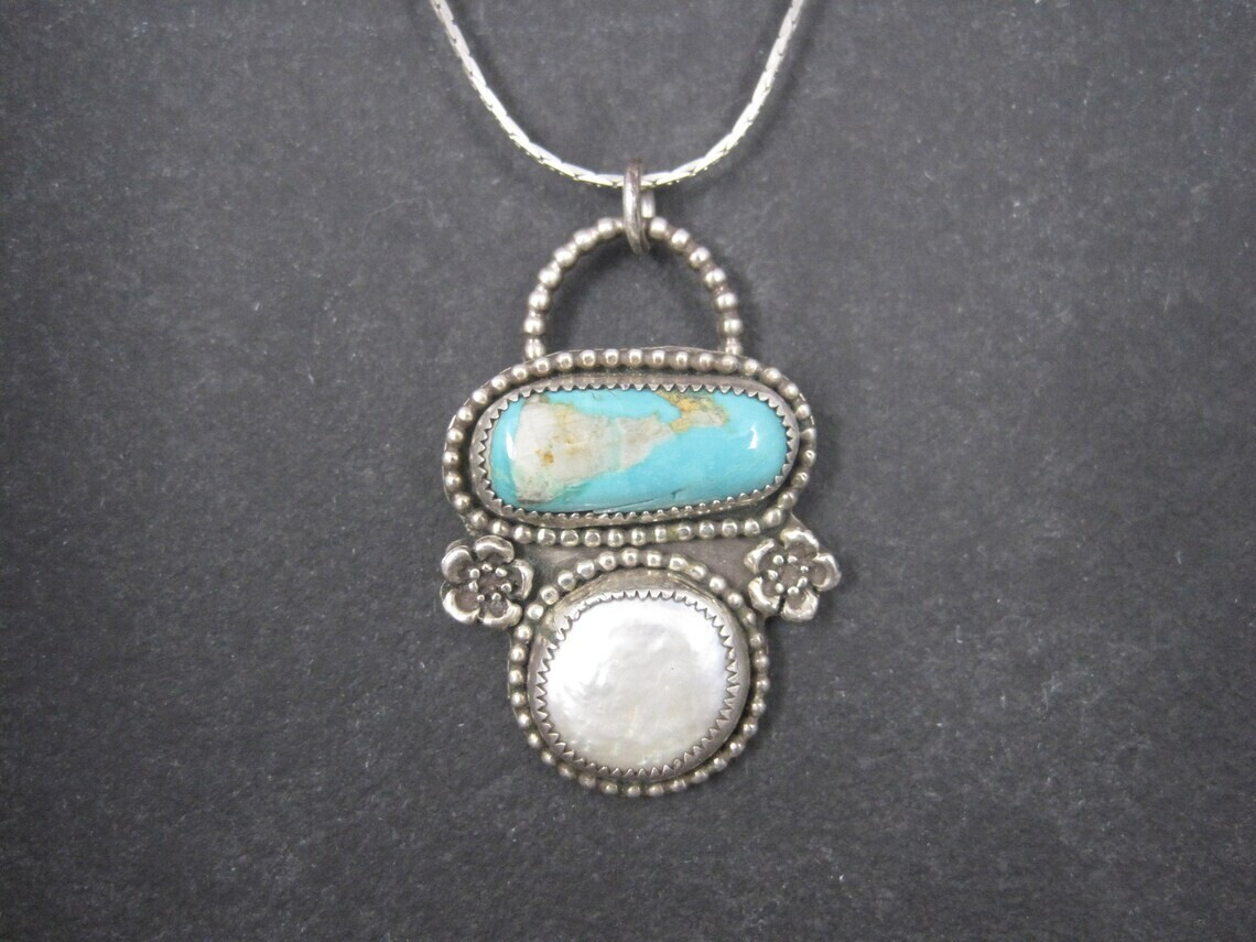 Artisan Sterling Turquoise Coin Pearl Pendant