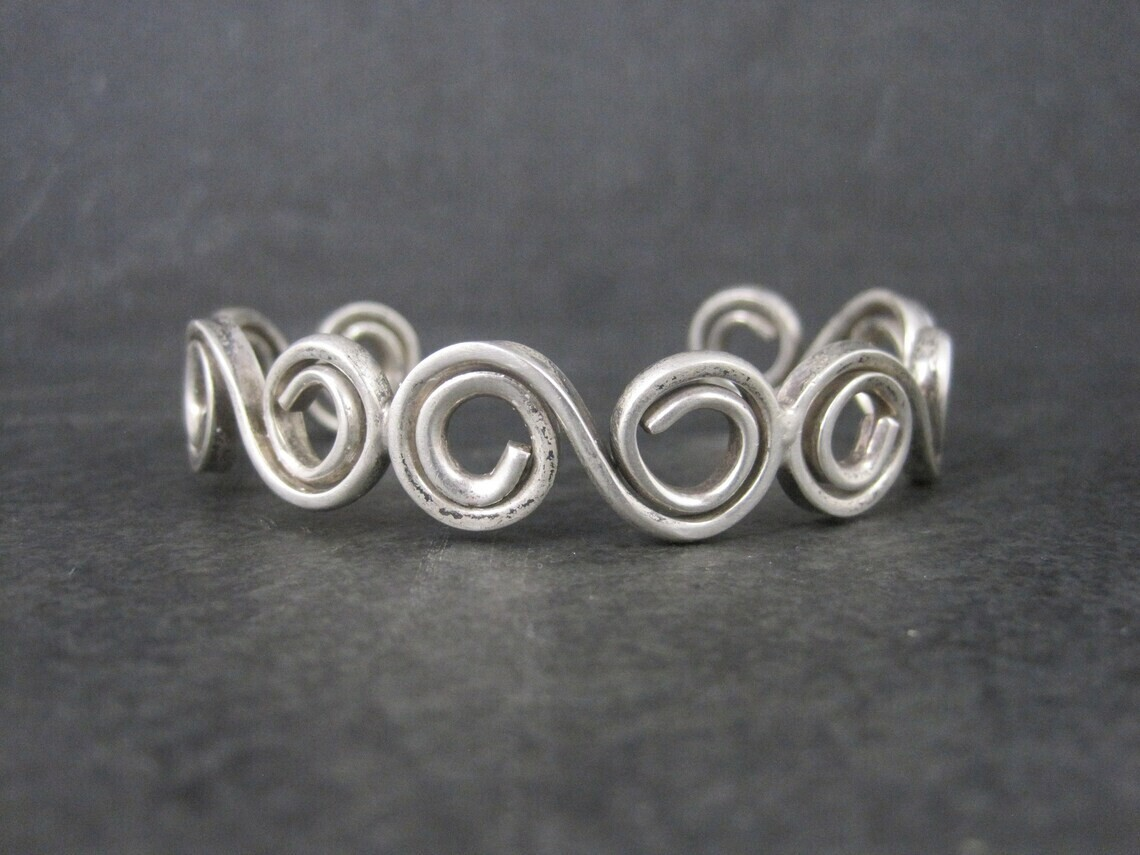 Mexican Sterling Swirl Cuff Bracelet 6.25 Inches