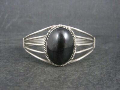 Vintage Southwestern Sterling Onyx Cuff Bracelet 6.25 Inches