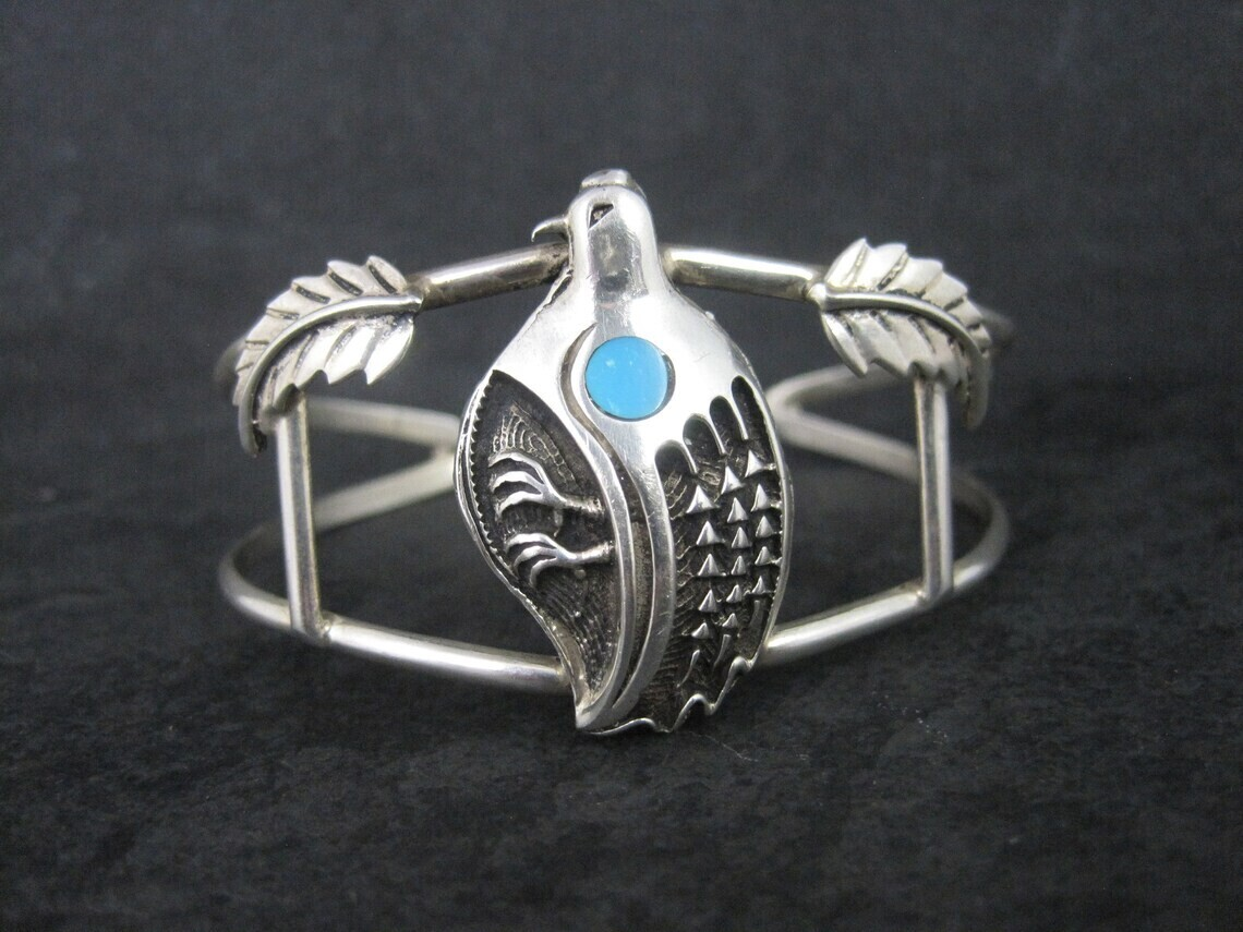 Southwestern Sterling Turquoise Quail Cuff Bracelet 6 Inches