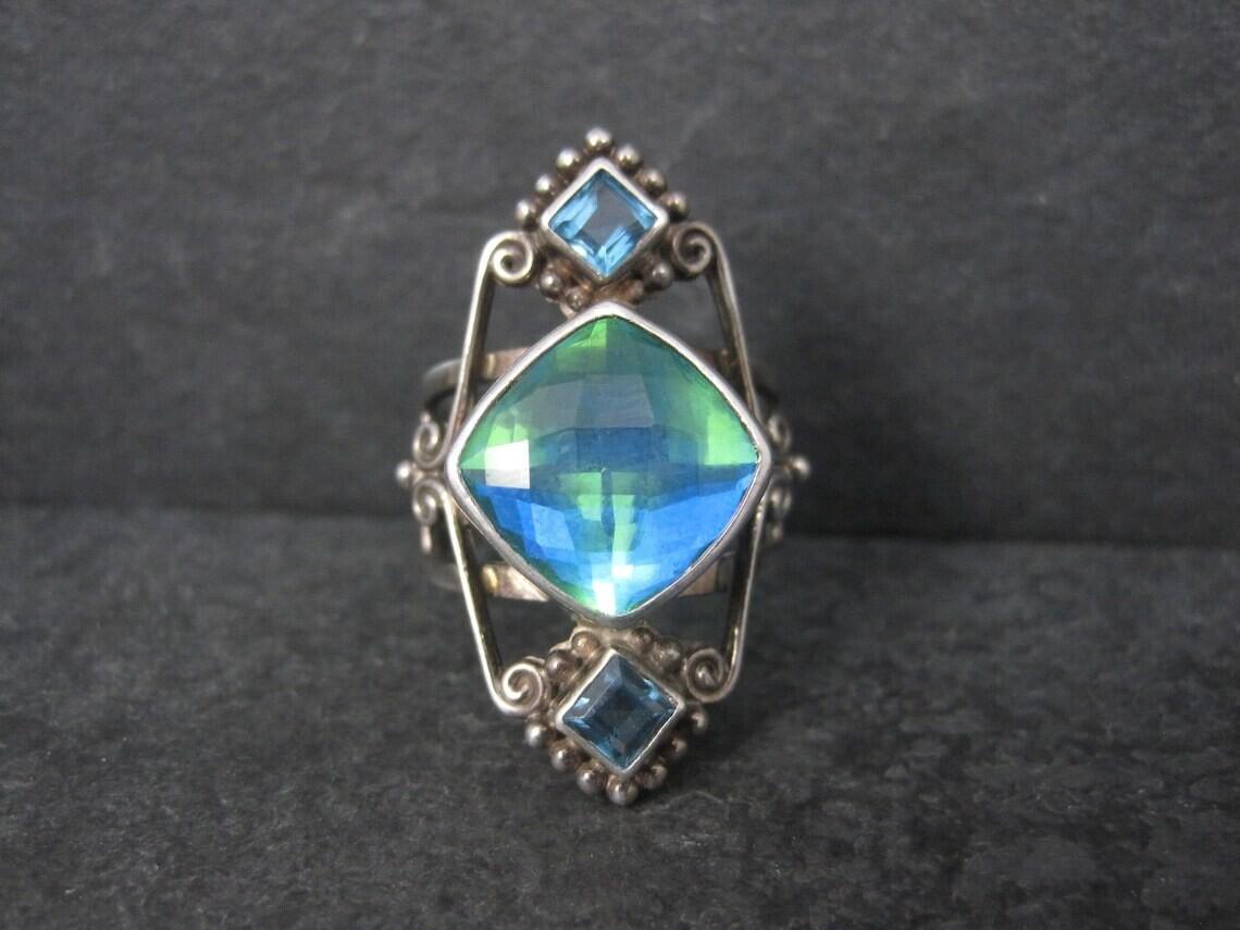 Sterling Sajen Caribbean Quartz Blue Topaz Ring Size 8