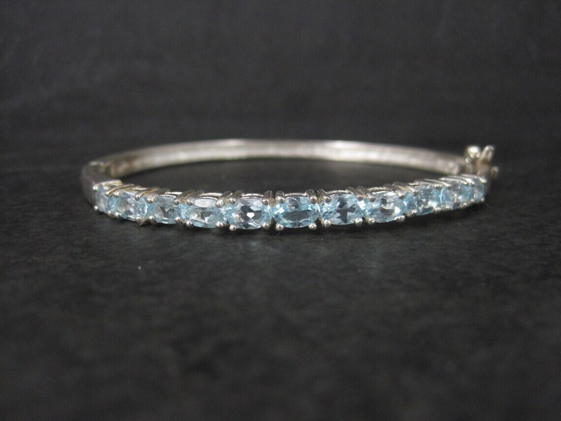Estate Sterling Blue Topaz Bangle Bracelet 7 Inches
