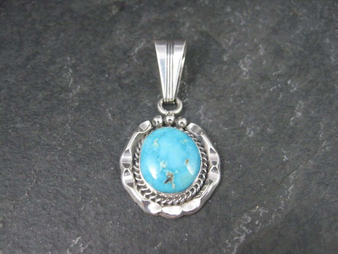 Estate Native American Sterling Turquoise Pendant