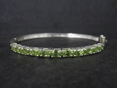 Estate Sterling Peridot Bangle Bracelet 7 Inches