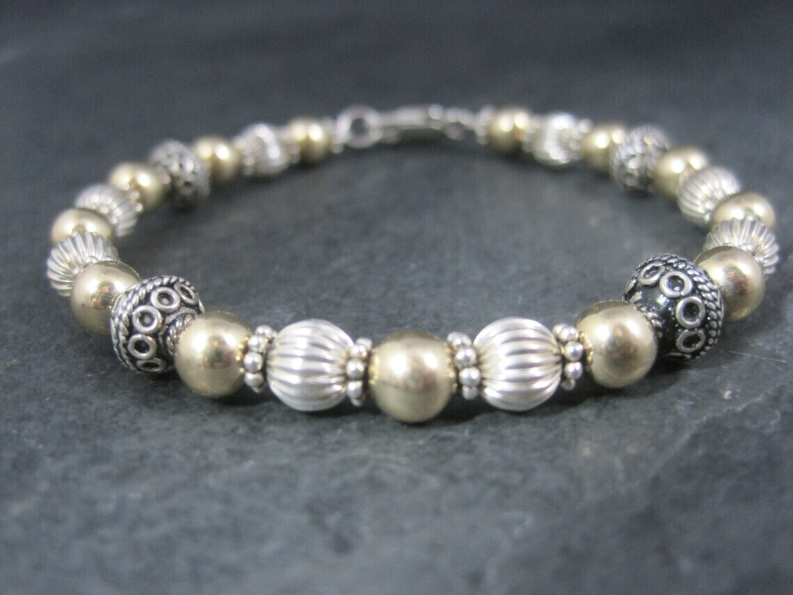 Estate Sterling 14K Bead Bracelet 7 Inches