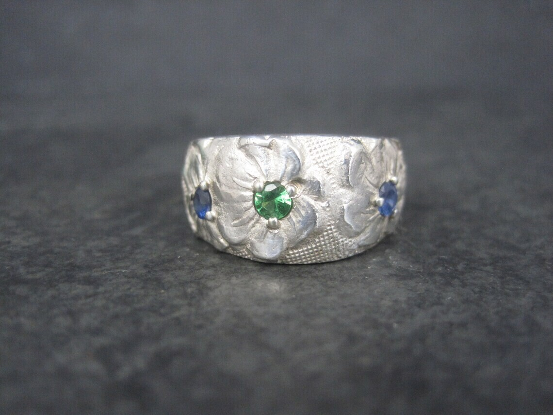 Estate Sterling Emerald Sapphire Flower Ring Size 8